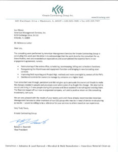 Testimonial letter from Kinsale Contracting Group Inc. for American Management Services