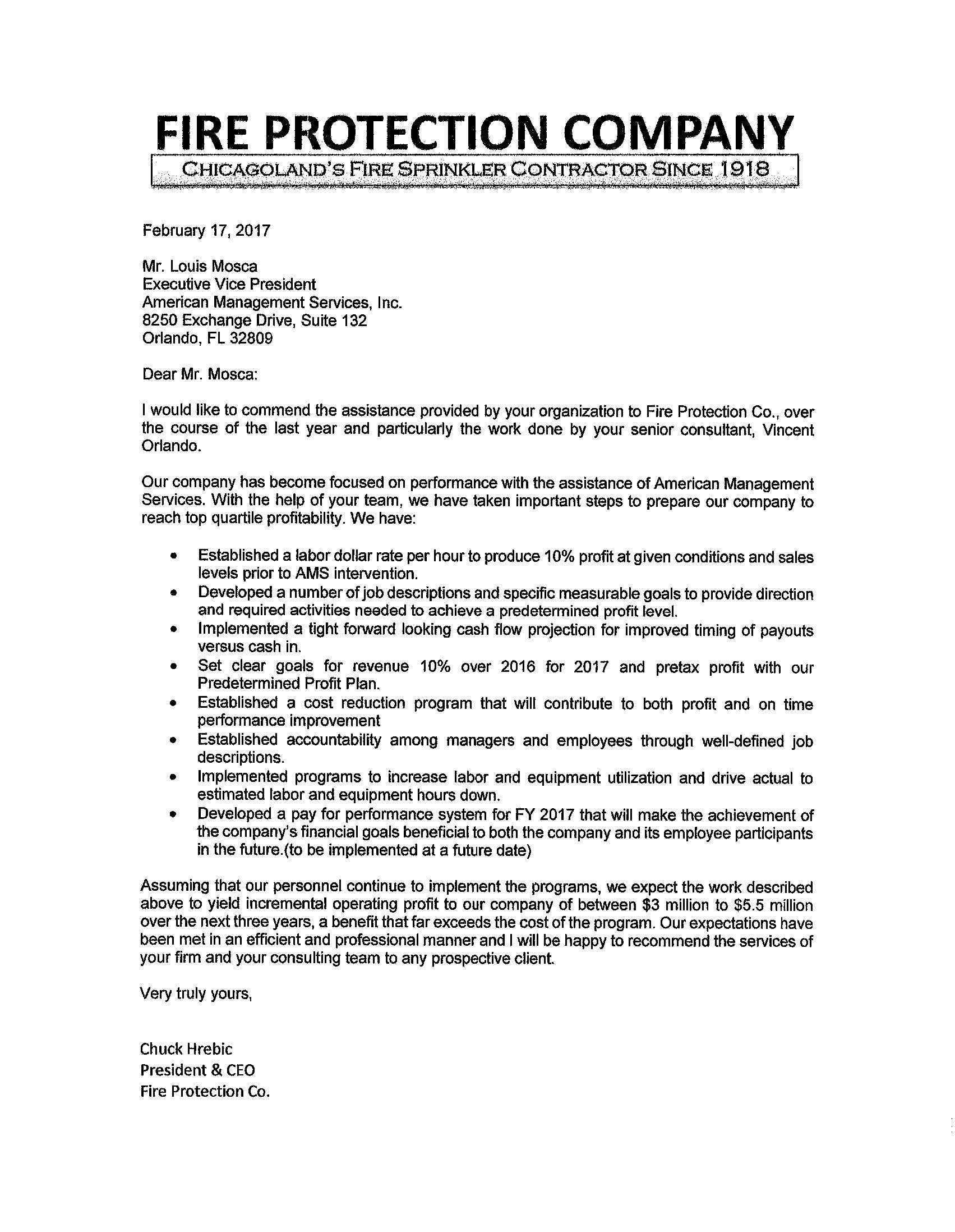 Fire Protection Company Reference Letter American Management